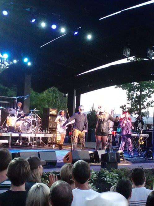 The B-52s early in their set Monday night.