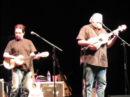 Los Lobos' Louie Perez (left) and David Hidalgo, performing at Red Butte Garden Sunday night.