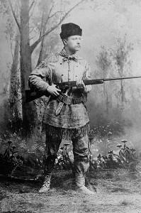 Theodore Roosevelt, posing as an 'outdoorsman'