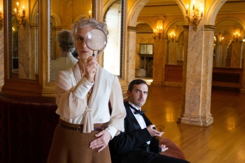 L-R: Tia Speros (Miss Tweed) and Joseph Medeiros (Nigel). Photo by Brent Uberty at the McCune Mansion.