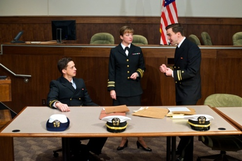 (left to right) Spencer Moses (as Lt. J.G. Sam Weinberg), Kate Middleton (as Lt. Cmdr. Joanne Galloway) and Joe Tapper (Kaffee)