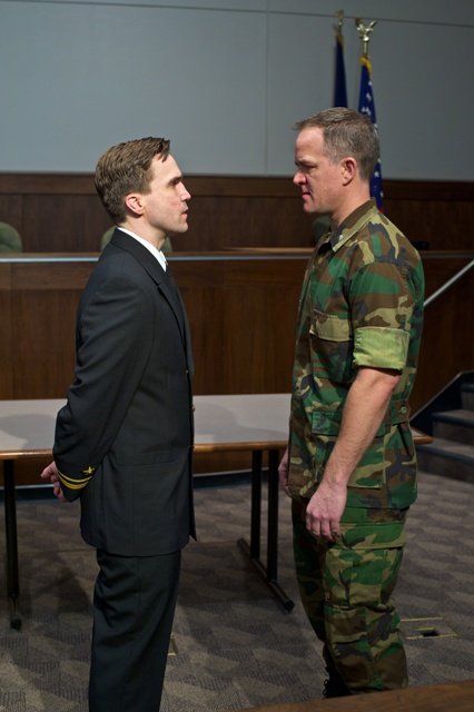 (left to right)  Joe Tapper (as Lt. J.G. Daniel Kaffee) and Torsten Hillhouse (as Lt. Col. Nathan Jessep)