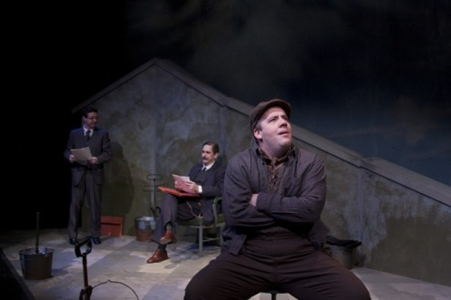 (left to right) Jay Perry as Hayek, Mark Fossen as Keynes, Kirt Bateman as Mr. Bowles