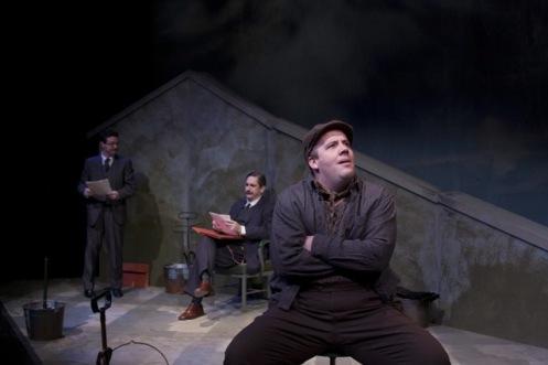 (left to right) Jay Perry as Hayek, Mark Fossen as Keynes, Kirt Bateman as Mr. Bowles