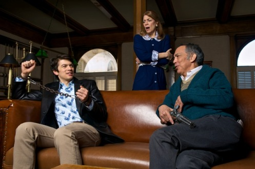 Norvik (left), Gayton Scott as Myra Bruhl, and Sesma. Photo by Alex Weisman.